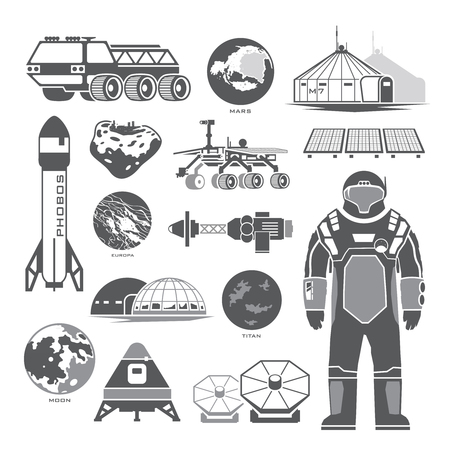 colonization: Set of black vector elements on the theme of astronomy, space exploration, colonization of Mars, moon, Europa and Titan. Space adventure. The first colonies. Terraforming. Illustration