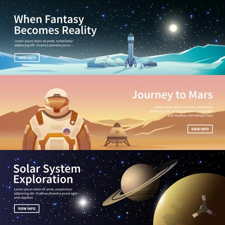 Fat banery wektora internetowych na temat astronomii, eksploracji kosmosu, kolonizacji kosmosu. Badanie Układu Słonecznego. Pierwsze kolonie. Nowoczesna płaska. Ilustracje wektorowe