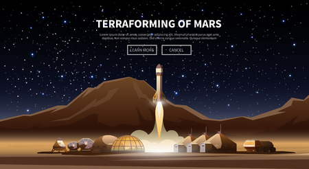 Fat vector web banner on the theme of astronomy, space exploration, colonization of Mars. Space adventure. The first colonies. Terraforming. Modern flat design.