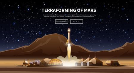cohetes: vector de grasa bandera de la tela sobre el tema de la astronomía, exploración espacial, la colonización de Marte. aventura espacial. Las primeras colonias. Terraformación. Moderno diseño plano.