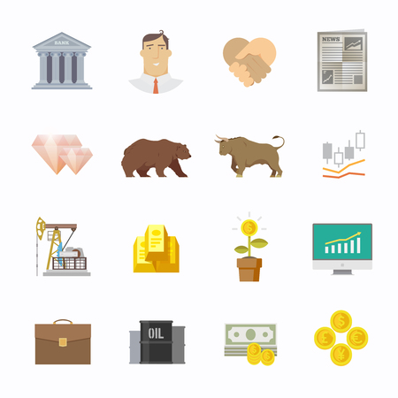 equity: Multicolor bolsa de comercio conjunto de iconos. Los pesos pesados ??de lucha. Mercado de renta variable. principales tendencias de la econom�a mundial. Moderno dise�o plano.