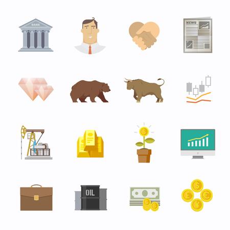 stockholder: Multicolor stock exchange trading set of icons. The bulls and bears struggle. Equity market. World economy major trends. Modern flat design. Illustration