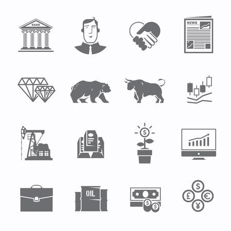 toro: bolsa de comercio en blanco y negro conjunto de iconos. Los pesos pesados ??de lucha. Mercado de renta variable. principales tendencias de la economía mundial. Moderno diseño plano. Vectores