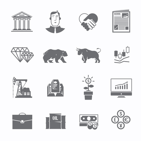 Black and white stock exchange trading set of icons. The bulls and bears struggle. Equity market. World economy major trends. Modern flat design.