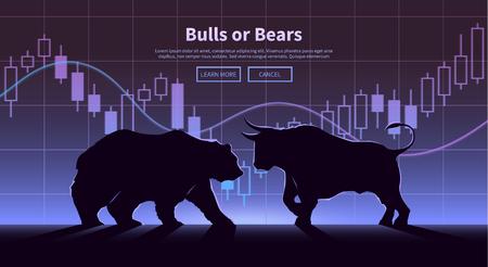 Bourse trading bannière. Les taureaux et les ours luttent. Equity concept de marché illustration. design plat moderne. Vecteurs