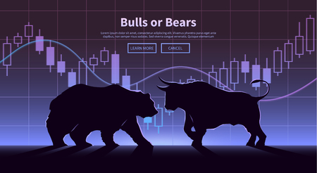 obchod: Burze obchodování poutač. Býci a medvědi bojují. Akciový trh koncept ilustrace. Moderní plochý design.