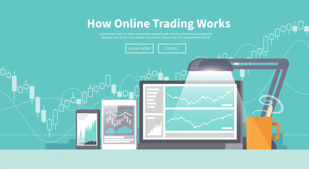 stock trading: Multicolor stock exchange trading of web banners. Equity market. World economy major trends. Modern flat design. Forex.