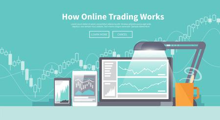 obchod: Vícebarevný burza obchodování web bannery. Akciový trh. Světová ekonomika hlavní trendy. Moderní plochý design. Forex.