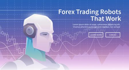 多色株式取引ロボット バナー。外国為替市場。外国為替取引です。ビジネスおよび取引の技術。人工知能。株式市場。経営。モダンなフラット デザ