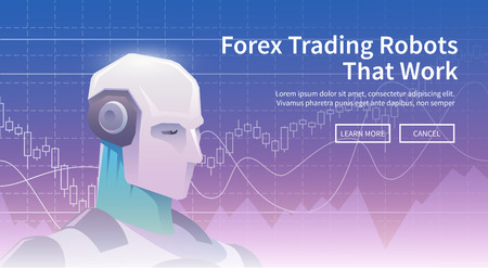 Multicolor stock exchange trading robot banner. Forex market. Forex trading. Technologies in business and trading. Artificial intelligence. Equity market. Business management. Modern flat design Vettoriali