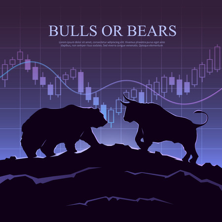 stock trading: Stock exchange trading banner. The bulls and bears struggle: what type of investor will you be. Stock market concept illustration. Modern flat design.