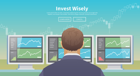 world economy: Multicolor stock exchange trading set of web banners. Equity market. World economy major trends. Modern flat design. Invest wisely. Illustration