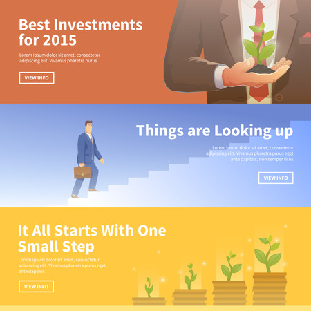 business banner: Multicolor stock exchange trading set of web banners. Equity market. World economy major trends. Modern flat design. Best investments. Things are Looking up. Deposit growth. Illustration