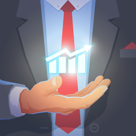 office wear: Businessman give you secret about successful business. Formal wear and background. Businessman in his office holding with powerful light in his hand. Symbol of growth. Vector illustration.