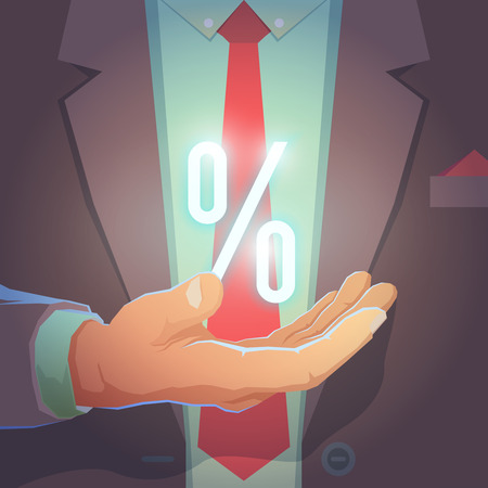 formal wear: Businessman give you secret about successful business. Formal wear and background. Businessman in his office holding with powerful light in his hand. Symbol of percent. Vector illustration.