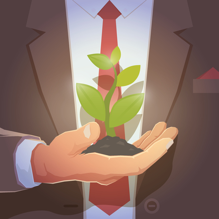 powerful man: Businessman give you secret about successful business. Formal wear and background. Businessman in his office holding with a sprout in hands. Vector illustration.
