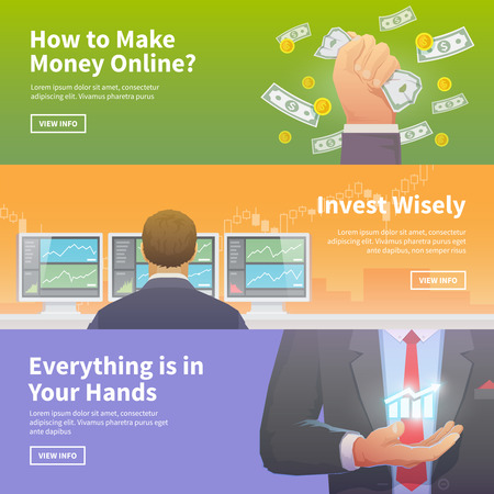 cash on hand: Multicolor stock exchange trading set of web banners. Equity market. World economy major trends. Modern flat design. Make money. Invest wisely. Everything is in Your Hands.