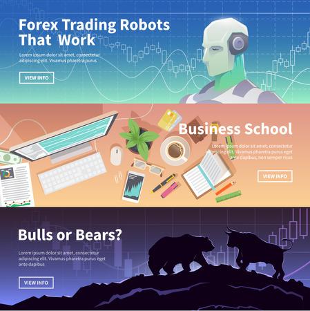 Multicolor stock exchange trading set of web banners. Equity market. World economy major trends. Modern flat design. Forex trading robot. Business school. Bulls or Bears.