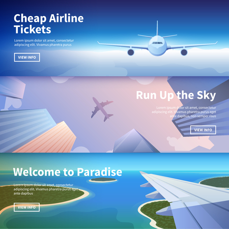 commercial airline: Flat vector web banner on the theme of travel by airplane, vacation, adventure. Flight in the stratosphere. Takeoff over the city among the skyscrapers. Landing on a tropical island. Transport.
