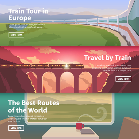 intercity: Flat vector web banners on the theme of travel by train, high speed train, vacation, landscape, view from window, railway, adventure. Mountain landscape. Sunset sky. The bridge, mountain railway.