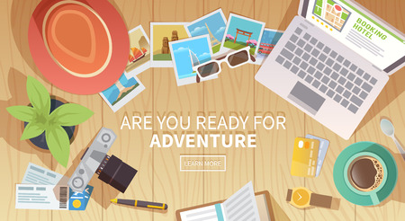 top of the world: Flat vector web banner on the theme of travel , vacation, adventure. Preparing for your journey. Outfit of modern traveler. Objects on wooden background. Top view. Are you ready for Adventure