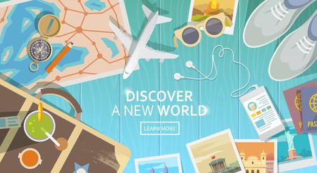 путешествие: Плоский вектор веб-баннер на тему путешествия, отдых, приключения. Подготовка к поездке. Экипировка современного путешественника. Объекты, расположенные на деревянном фоне. Вид сверху. Откройте для себя новый мир. Иллюстрация