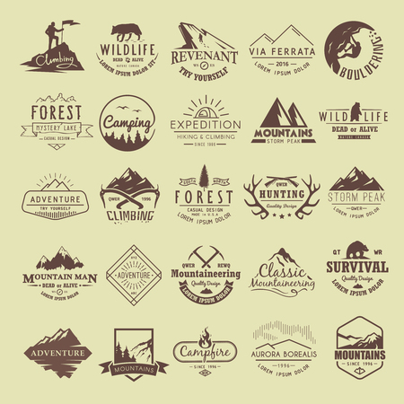 Set van vintage labels op het thema van Klimmen, Trekking, wandelen, bergbeklimmen, Jagen. Extreme sporten, openlucht recreatie, avontuur in de bergen, vakantie. Prestatie.