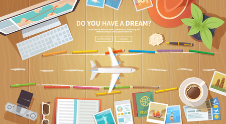 wanderlust: Flat vector web banner on the theme of travel , vacation, adventure. Preparing for your journey. Outfit of modern traveler. Objects on wooden background. Top view. Do you have a dream.
