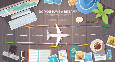 旅行、休暇、冒険をテーマとした平面ベクトル web バナー。あなたの旅の準備。現代の旅行者の服。木製の背景上のオブジェクト。平面図です。夢が  イラスト・ベクター素材
