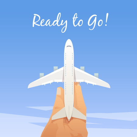 airplane travel: Flat vector web banner on the theme of travel by airplane, vacation, adventure. Toy airplane in hand. Modern flat design. Illustration