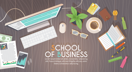 school work: A business activity. Workplace. Office. Work in a team. Business school training. Objects lying on a wooden table. The web banner. Modern flat design.