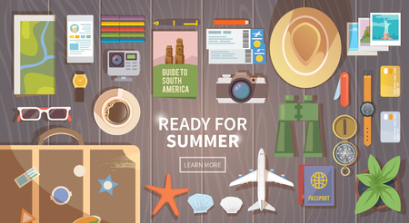 ready: Flat vector web banner on the theme of travel , vacation, adventure. Preparing for your journey. Outfit of modern traveler. Objects on wooden background. Top view. Ready for Summer.