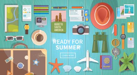 旅行、休暇、冒険をテーマとした平面ベクトル web バナー。あなたの旅の準備。現代の旅行者の服。木製の背景上のオブジェクト。平面図です。夏の  イラスト・ベクター素材