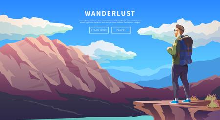 vecteur Web illustration sur le thème de randonnées, trekking, randonnée, marche. Sports, loisirs de plein air, aventures dans la nature, vacances. Esprit d'aventure. Rétrogradation. design plat moderne