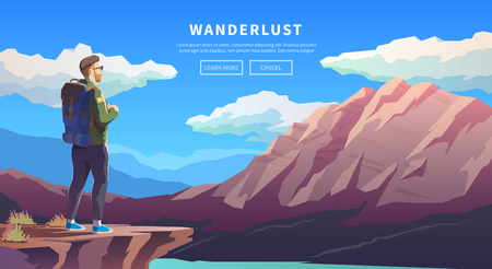 wanderer: Web vector  illustration on the theme of Climbing, Trekking, Hiking, Walking. Sports, outdoor recreation, adventures in nature, vacation. Wanderlust. Downshifting. Modern flat design