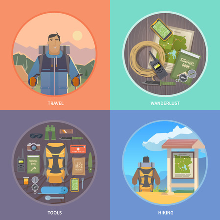Set of flat vector illustrations on the theme of Climbing, Trekking, Hiking, Walking. Sports, outdoor recreation, adventures in nature, vacation. Modern flat design.