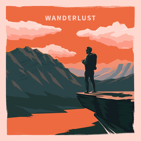 wanderer: Web vector  illustration on the theme of Climbing, Trekking, Hiking, Walking. Sports, outdoor recreation, adventures in nature, vacation. Wanderlust. Downshifting. Retro flat poster