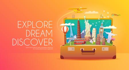 世界への旅。世界への旅行します。休暇。道路の旅。観光。旅行のバナーです。ランドマークとスーツケースを開いています。旅。旅行のイラスト。モダンなフラット デザイン 写真素材 - 55671753