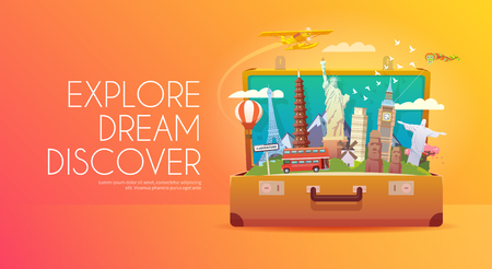open suitcase: Trip to World. Travel to World. Vacation. Road trip. Tourism. Travel banner. Open suitcase with landmarks. Journey. Travelling illustration. Modern flat design