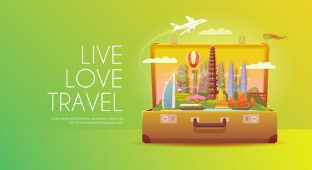 Vakantie naar Azië. Vector Illustratie