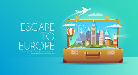 europa: Viaje a Europa. Vectores