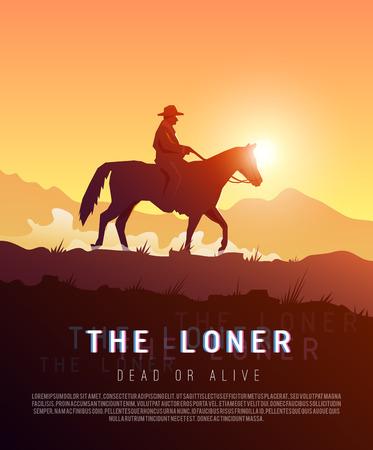 gazing: Stylish vector poster wild West Illustration