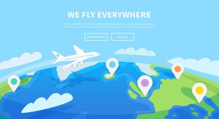 Flat vector web banner op het thema van de reis per vliegtuig