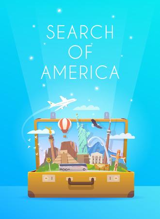Reis naar Zuid-Amerika. Vector Illustratie