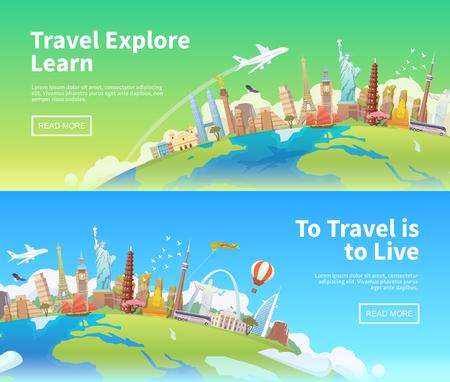 Reisen Sie nach Welt. Ausflug. Tourismus. Sehenswürdigkeiten auf der ganzen Welt. Horizontal Web-Banner. Moderne flache Bauweise.