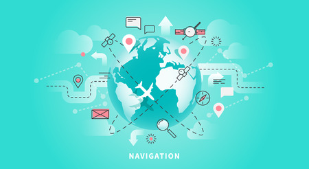 Vector web banner of map navigation Illustration