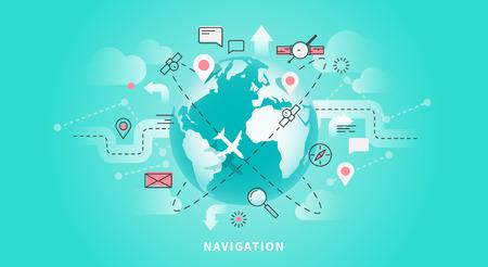 Vector web banner of map navigation Ilustração
