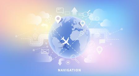 website template: Vector web banner of map navigation Illustration