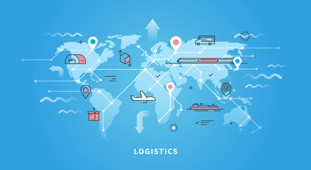 Vector Web-Banner zum Thema Logistik, Lagerhalle, Fracht, Cargo Transport.