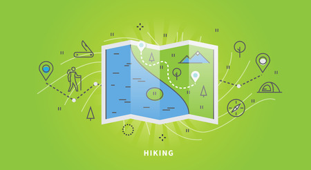 hiking: Vector outdoor hiking web banner. Illustration